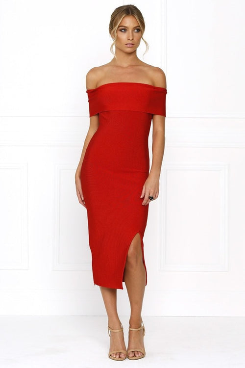 Bandage Dress - Honey Couture SOPHIE Red Off Shoulder Bandage Dress W Split