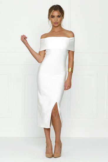 Honey Couture SOPHIE White Off Shoulder Bandage Dress w SplitHoney CoutureOne Honey Boutique AfterPay OxiPay ZipPay