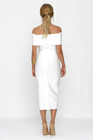 Bandage Dress - Honey Couture SOPHIE White Off Shoulder Bandage Dress W Split