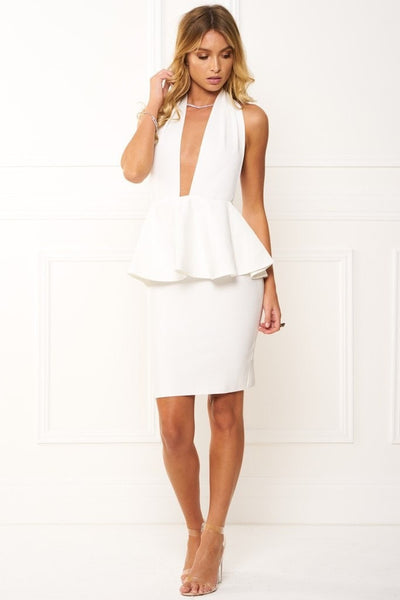 Bandage Dress - Honey Couture ZURI White Peplum Halter Bandage Dress