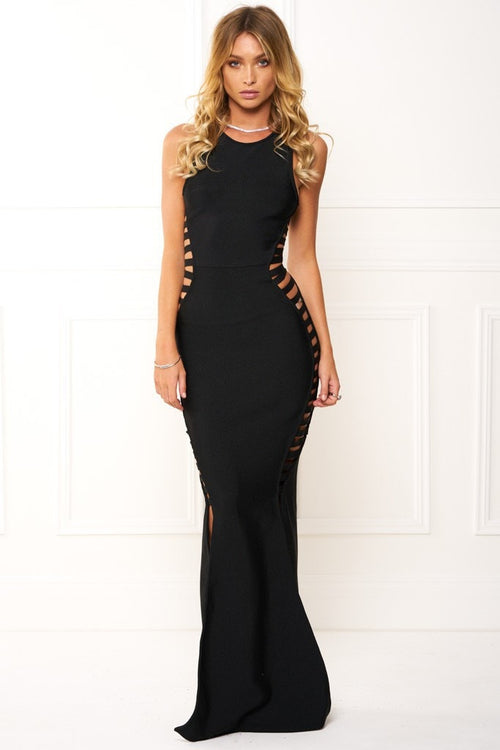 Honey Couture EMMY Black High Neck Cut Out Bandage Maxi Formal Dress Australian Online Store One Honey Boutique AfterPay ZipPay