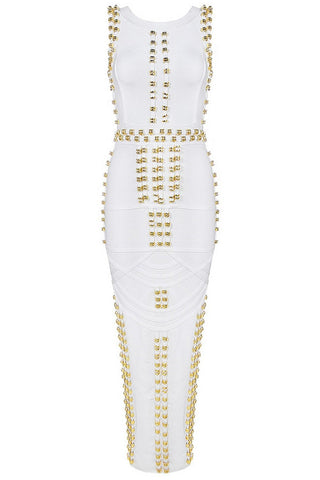 Honey Couture White Gold Detail Maxi Bandage Dress