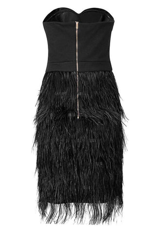 Honey Couture Black Silver Stud Feather Strapless Dress
