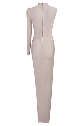 Honey Couture ROYA Taupe Silver Cut Out Bandage Maxi Dress Honey Couture One Honey Boutique AfterPay ZipPay OxiPay Laybuy Sezzle Free Shipping