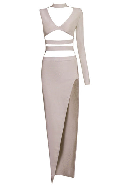 Honey Couture Taupe Silver Cut Out Bandage Maxi Dress , Bandage Dress Honey Couture, One Honey Boutique  Australian Online Store - 1