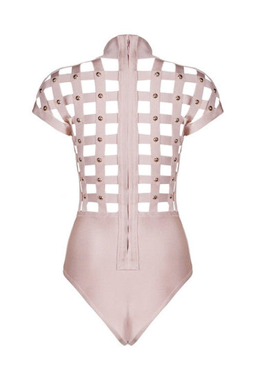 Honey Couture ELORA Pink w Gold Studs Cage Bandage BodysuitHoney CoutureOne Honey Boutique AfterPay OxiPay ZipPay