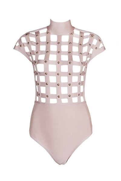 Honey Couture ELORA Pink w Gold Studs Cage Bandage Bodysuit