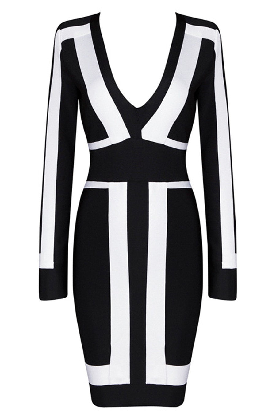 Honey Couture BROOKLYN Black & White Long Sleeve Bandage Dress Australian Online Store One Honey Boutique AfterPay ZipPay