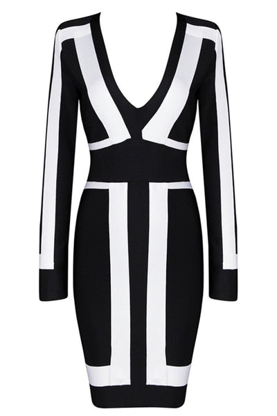 Honey Couture Black & White Long Sleeve Bandage Dress , Bandage Dress Honey Couture, One Honey Boutique  Australian Online Store - 5