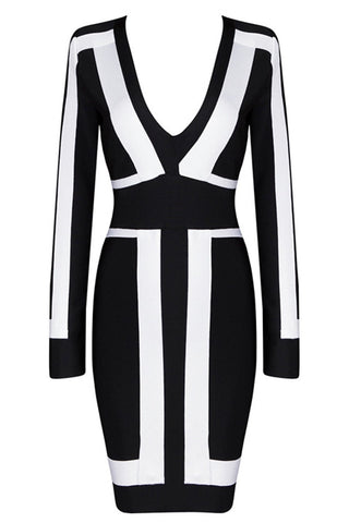 Honey Couture BROOKLYN Black & White Long Sleeve Bandage Dress Honey Couture One Honey Boutique AfterPay ZipPay OxiPay Sezzle Free Shipping
