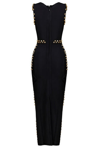 Honey Couture Black Gold Detail Maxi Bandage Dress