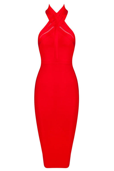 Honey Couture Red Halterneck Mesh Bandage Midi Dress , Bandage Dress Honey Couture, One Honey Boutique  Australian Online Store - 4