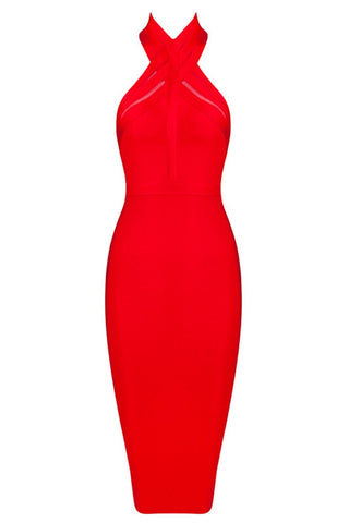 Honey Couture Red Halterneck Mesh Bandage Midi Dress , Bandage Dress - Honey Couture, One Honey Boutique  - 5