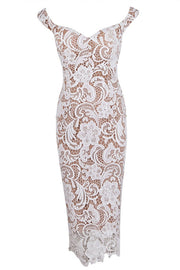 Honey Couture Nude w White Off Shoulder Lace Lover Dress Honey Couture$ AfterPay Humm ZipPay LayBuy Sezzle