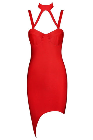 Honey Couture Red Bustier Bandage Dress , Bandage Dress - Honey Couture, One Honey Boutique  - 1