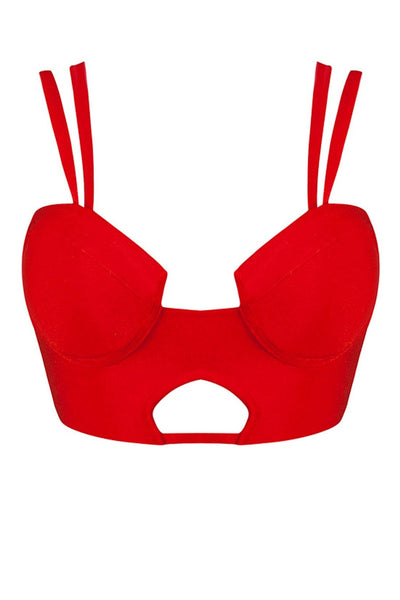 Honey Couture KALI Red Bustier Bandage Bralette Top