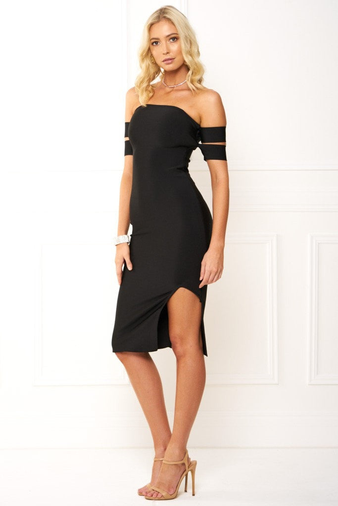 Honey Couture FREYA Black Off Shoulder Strap Bandage Dress Australian Online Store One Honey Boutique AfterPay ZipPay