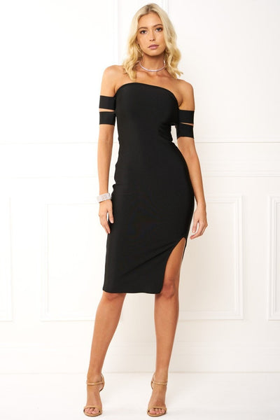 Honey Couture FREYA Black Off Shoulder Strap Bandage Dress