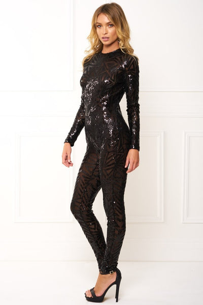 Honey Couture ADA Black Sequin Long Sleeve Jumpsuit
