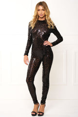 Honey Couture ADA Black Sequin Long Sleeve Jumpsuit Australian Online Store One Honey Boutique AfterPay ZipPay