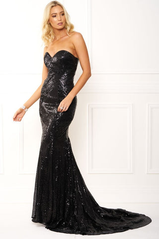 Honey Couture ARIEL Black Strapless Sequin Formal Gown Dress