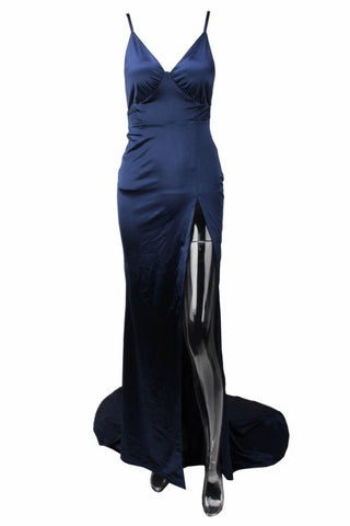 Honey Couture BIANCA Navy Blue Satin Style Mermaid Evening Gown Dress Honey Couture One Honey Boutique AfterPay ZipPay OxiPay Sezzle Free Shipping
