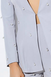 Honey Couture LIZZY Grey Pearl Long Sleeve Jacket Shorts Set Honey Couture$ AfterPay Humm ZipPay LayBuy Sezzle