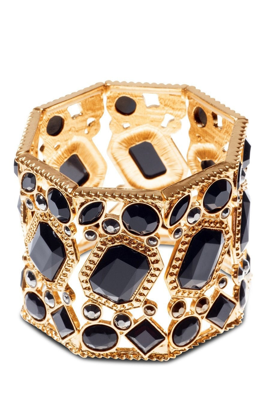 Bracelet - Kardashian Kollection Gold & Black Stone Cuff Bracelet