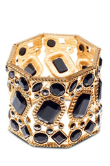 Kardashian Kollection Gold & Black Stone Cuff Bracelet