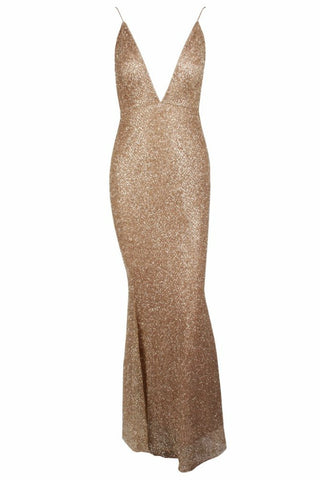 Honey Couture THESSY Gold Mermaid Sequin Formal Gown Dress Honey Couture One Honey Boutique AfterPay ZipPay OxiPay Sezzle Free Shipping