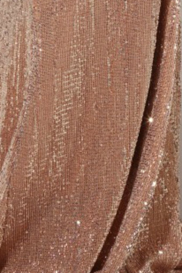 Honey Couture ROSALIE Champagne Gold Low Back Sequin Formal Gown Dress Honey Couture$ AfterPay Humm ZipPay LayBuy Sezzle