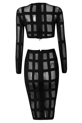 Crop & Skirt Set - Honey Couture ALAINA Black Caged In Striped Crop Top & Skirt Set