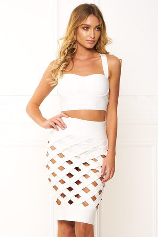 Crop & Skirt Set - Honey Couture KORA White Cage Crop Top & Bandage Skirt Set