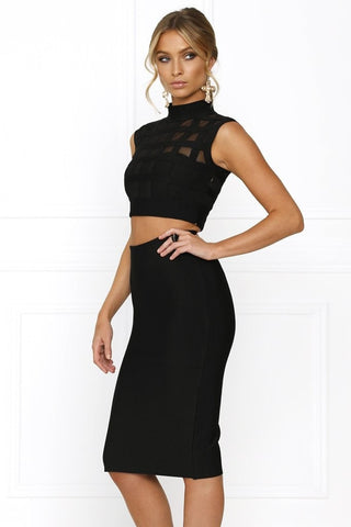 Crop & Skirt Set - Honey Couture REMI Black Mesh Crop Top & Pencil Skirt Bandage Set