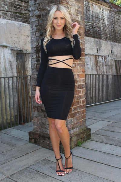 REVERSE Breaking Hearts Black Crop Top & Skirt Set