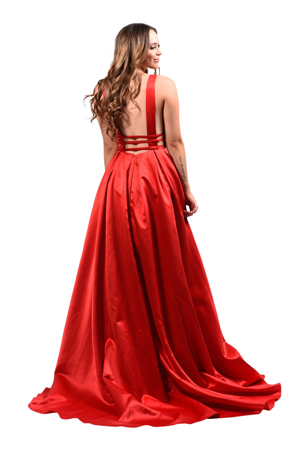 Honey Couture PIPPA Red V Front Formal Ball Gown Private Label$ AfterPay Humm ZipPay LayBuy Sezzle