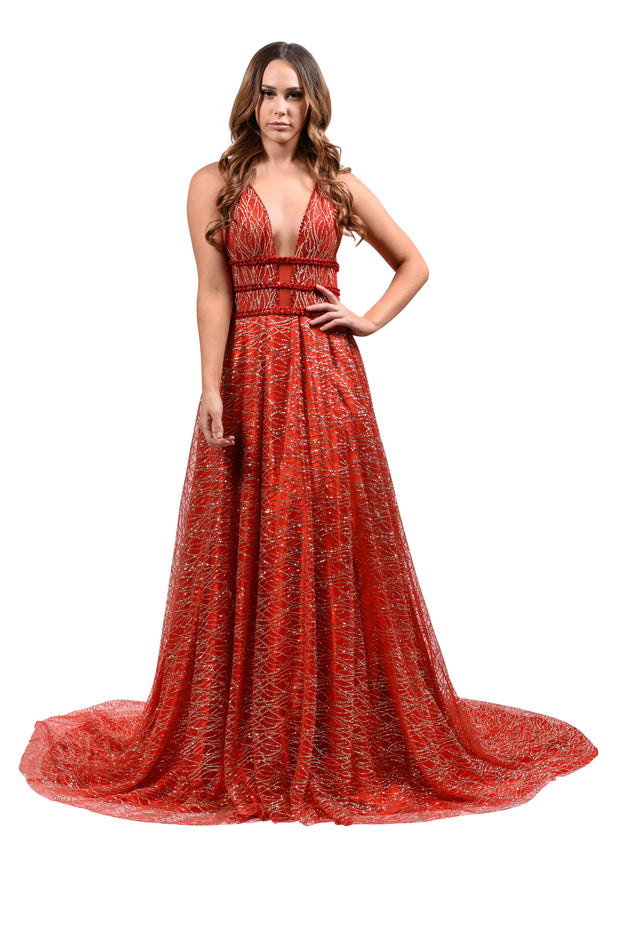 Honey Couture GLORIA Red Gold Glitter Infused Formal Ball Gown Private Label$ AfterPay Humm ZipPay LayBuy Sezzle