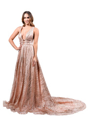 Honey Couture ZOEY Gold Glitter Infused Formal Ball Gown Private Label$ AfterPay Humm ZipPay LayBuy Sezzle