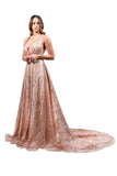 Honey Couture ZOEY Gold Glitter Infused Formal Ball Gown