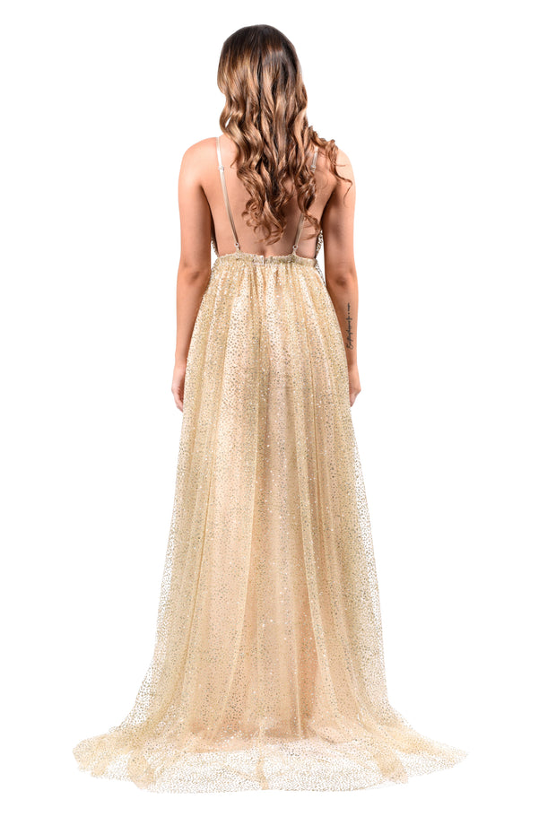 Honey Couture GEORGIA Gold Glitter Formal Gown Private Label$ AfterPay Humm ZipPay LayBuy Sezzle