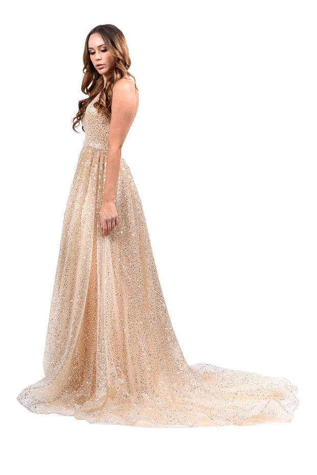 Honey Couture CATALINA Gold Sequin Halter Neck Formal Gown Private Label$ AfterPay Humm ZipPay LayBuy Sezzle