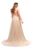 Honey Couture CATALINA Gold Sequin Halter Neck Formal Gown