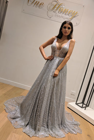 Honey Couture DAZZLING Silver Sequin Princess Formal Gown Dress