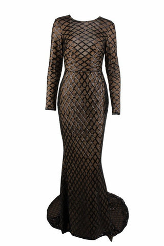 Honey Couture DEON Black & Nude Sequin Overlay Long Sleeve Formal Gown Dress Honey Couture One Honey Boutique AfterPay ZipPay OxiPay Sezzle Free Shipping