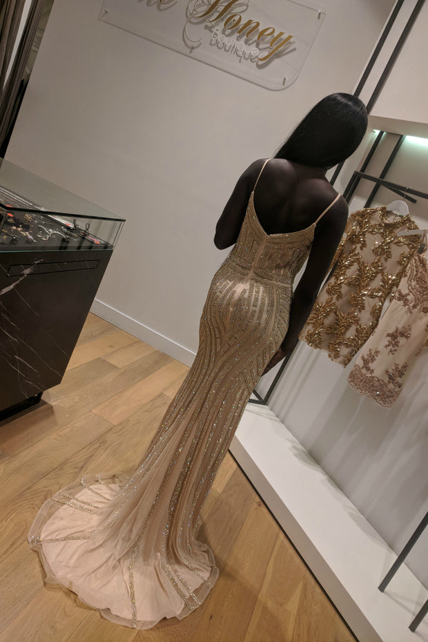 Honey Couture DIAMONDS Gold Sequin Mermaid Formal Gown Dress Private Label$ AfterPay Humm ZipPay LayBuy Sezzle