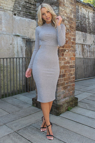 Dress - Grey Winter Long Sleeve Knit Dress