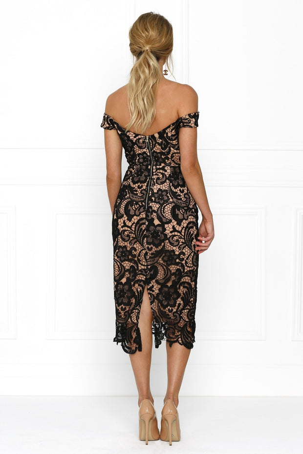 Honey Couture BELLA Nude with Black Off Shoulder Lace Lover Dress Honey Couture$ AfterPay Humm ZipPay LayBuy Sezzle