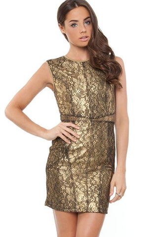 Keepsake the label 'Stand by Me' Gold Lace Body-Con Dress