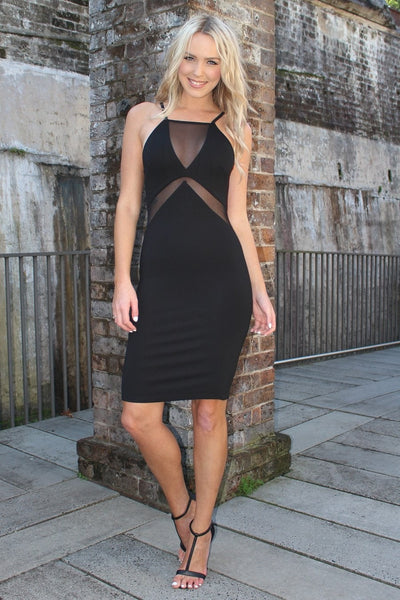 Kendra Black Mesh Bodycon Dress