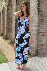 Little Flower Deep V Floral Maxi Dress